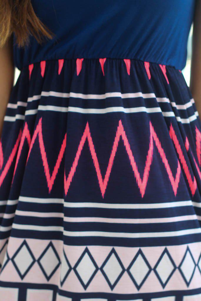 Navy and Neon Coral Chevron Short Dress