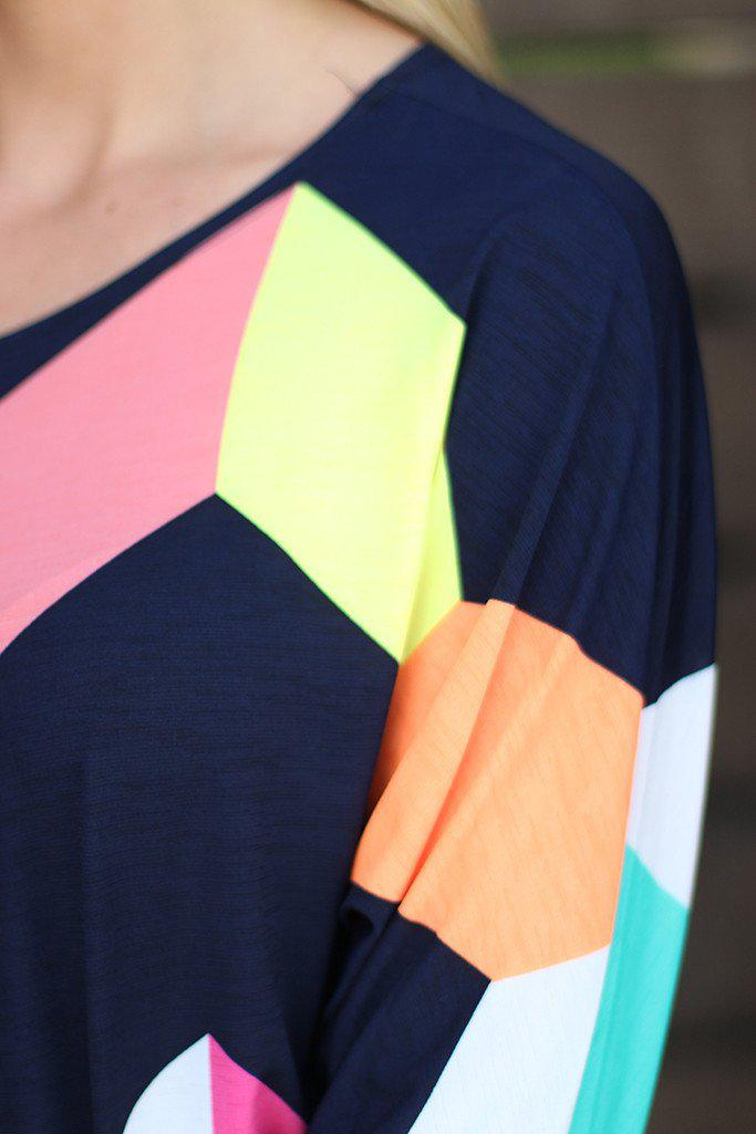 Navy Color Block Tunic