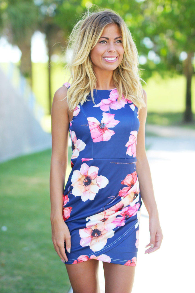 Navy Floral Fitted Dress