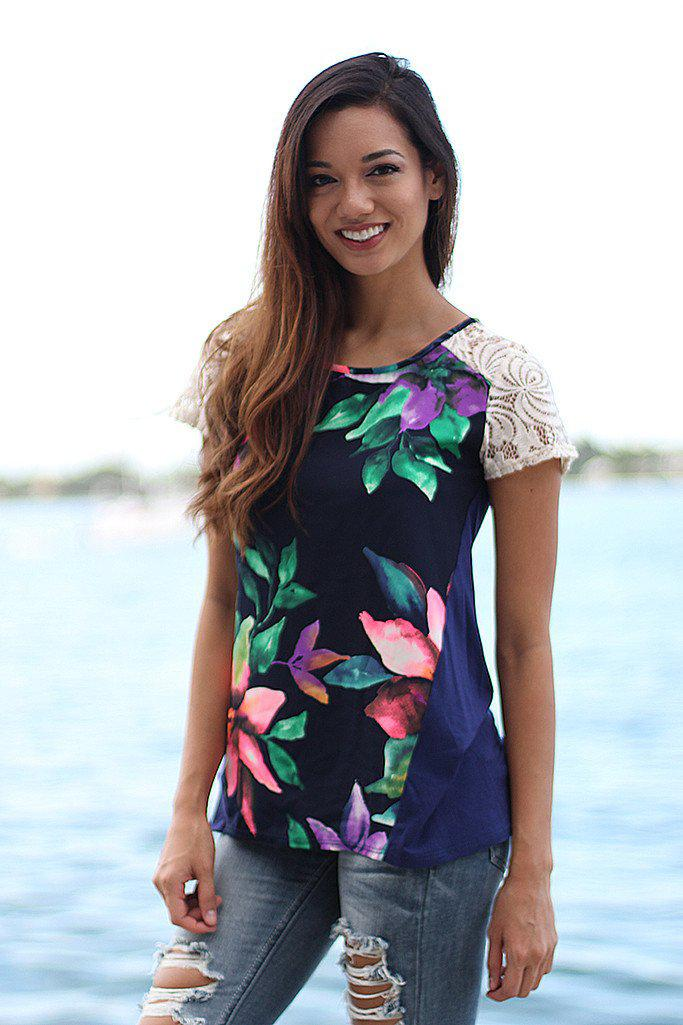 Navy Floral Top With Lace Sleeves