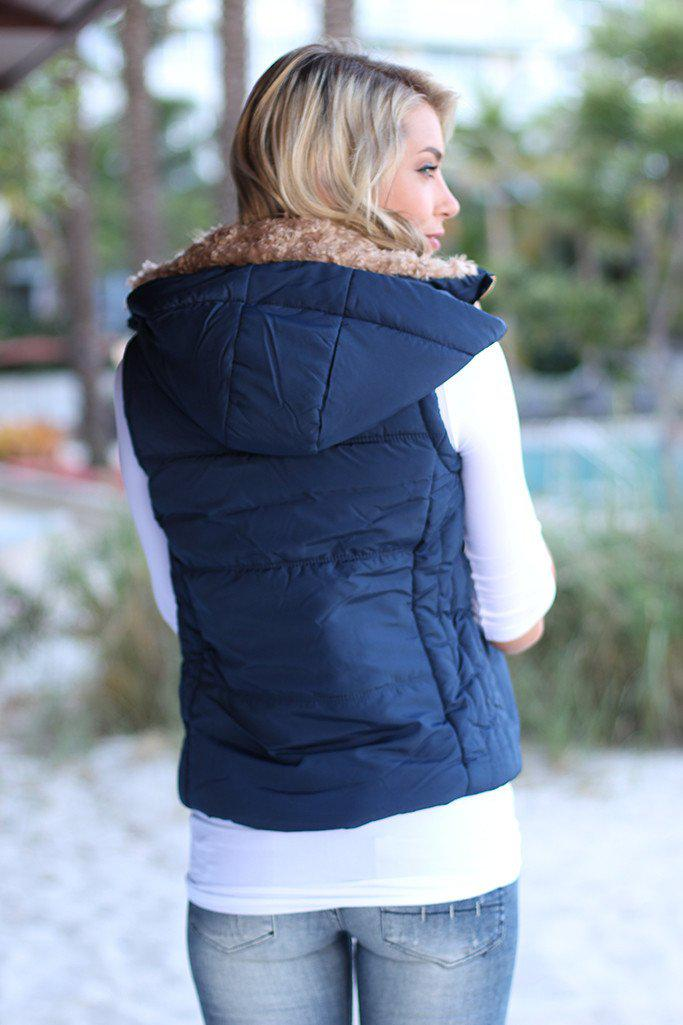 Navy Fur Padded Vest