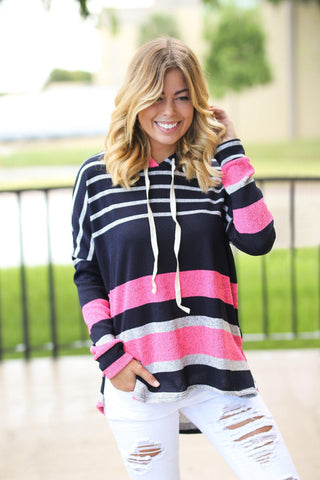 Navy and Pink Striped Hoodie