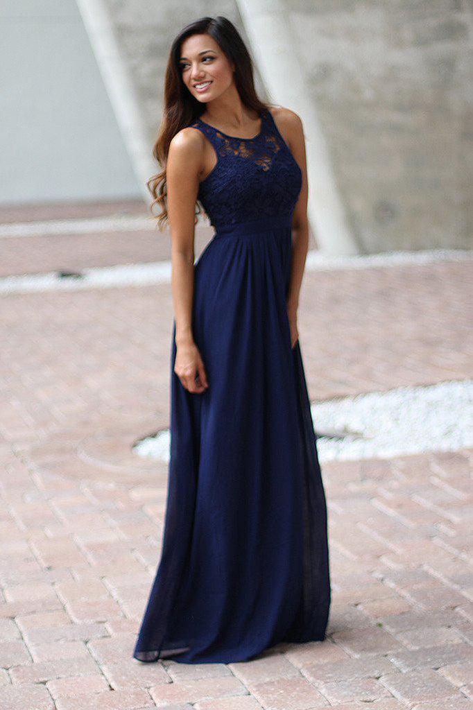 Navy lace maxi dress navy bridesmaid dress maxi for Navy blue maxi dress for wedding