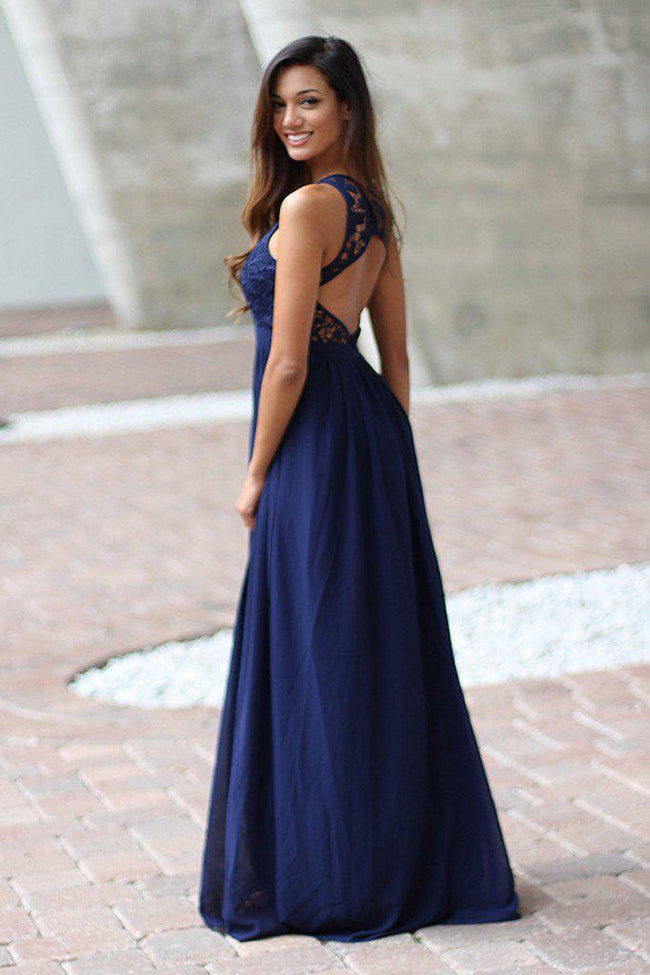 Navy Crochet Maxi Dress with Open Back