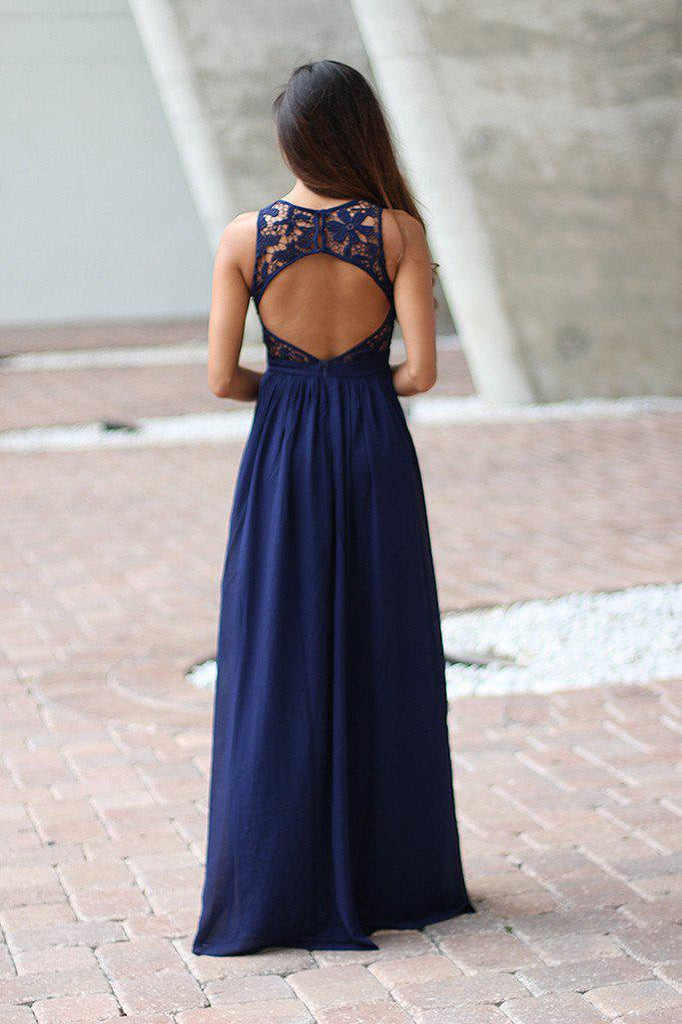 navy open back maxi dress