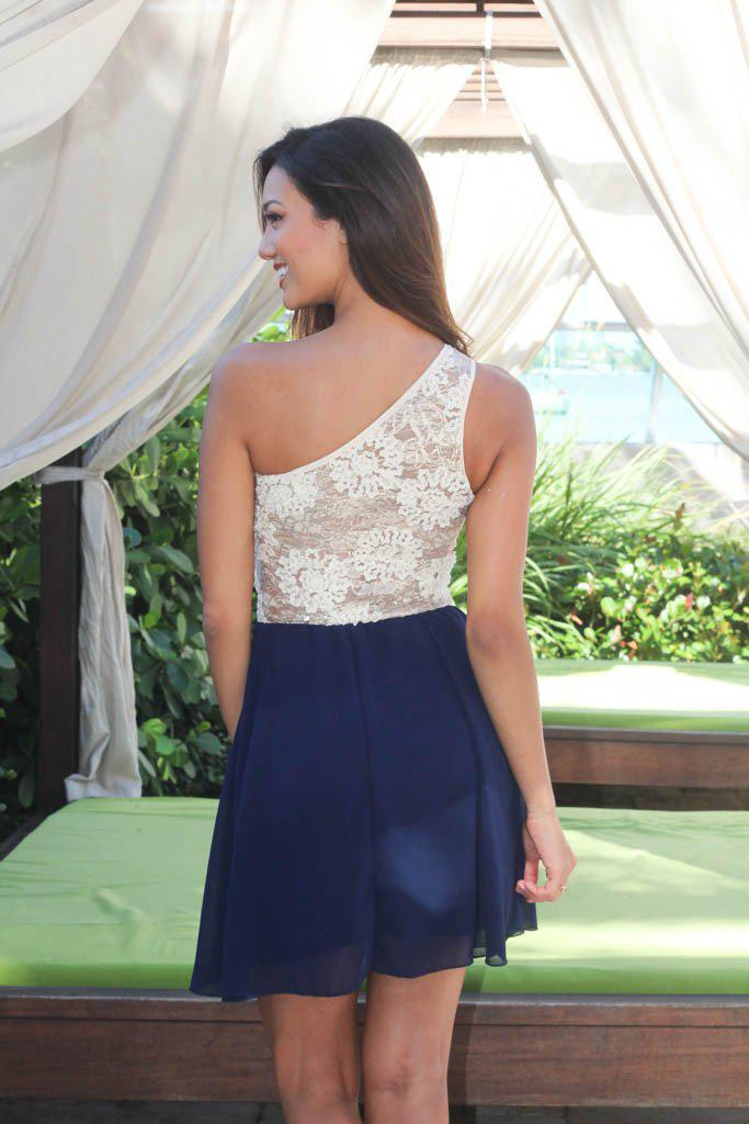 Navy And Ivory One Shoulder Dress