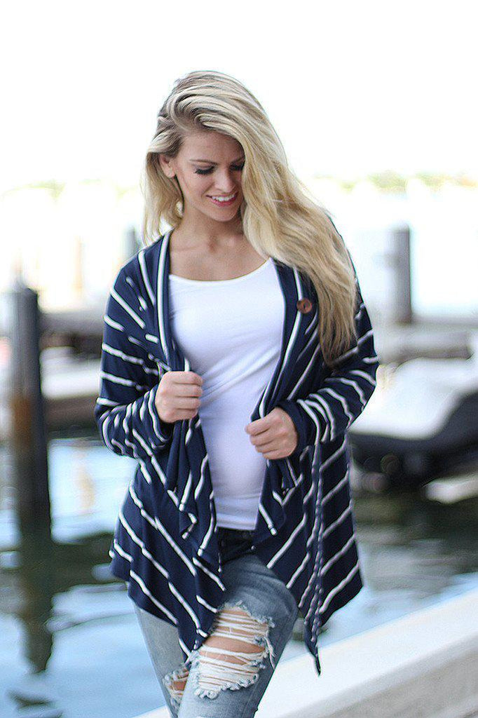 Navy Striped Cardigan With Button