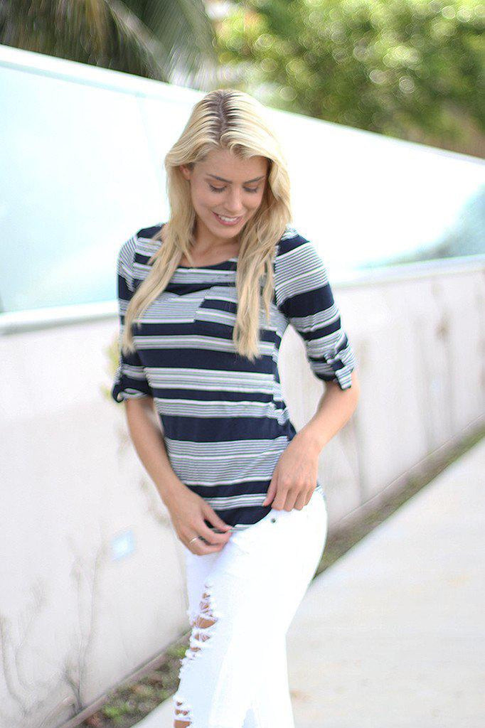 Navy Striped Top With Pocket