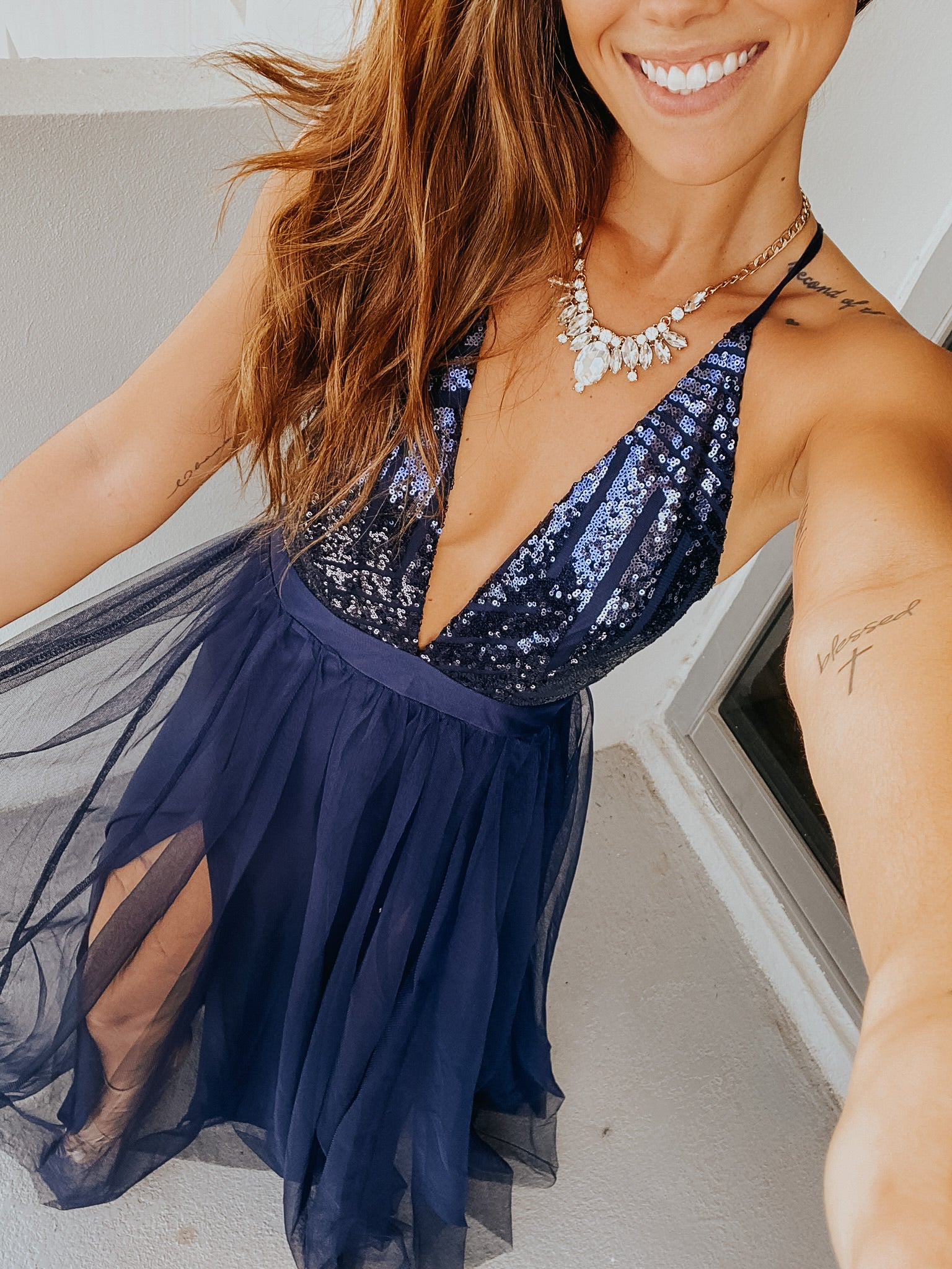 Navy Tulle Maxi Dress with Sequin Top and Criss Cross Back