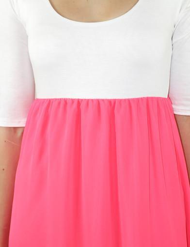 Neon coral 3/4 sleeves dress - zoomed view