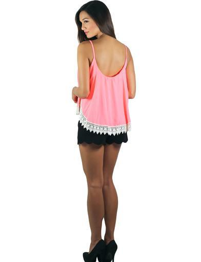 Neon Coral Crop Top With Crochet Trim - back view