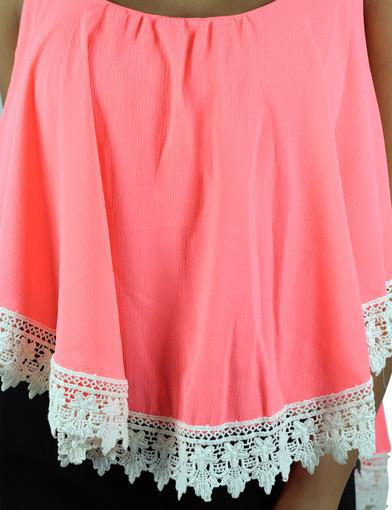 Neon Coral Crop Top With Crochet Trim - detail view