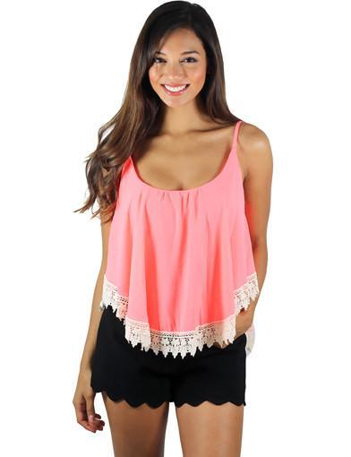 Neon Coral Crop Top With Crochet Trim