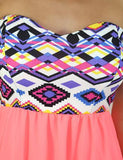 Neon coral dress with Aztec top - zoomed view
