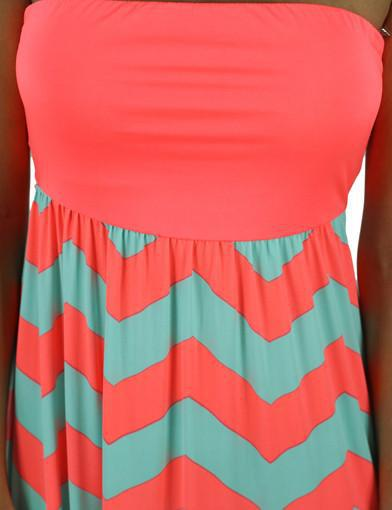 Neon coral dress with chevron print