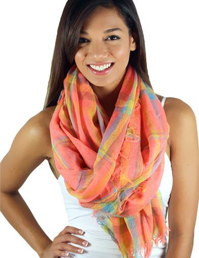 Neon coral plaid scarf - main image