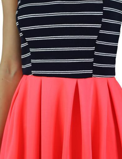 neon coral striped top dress