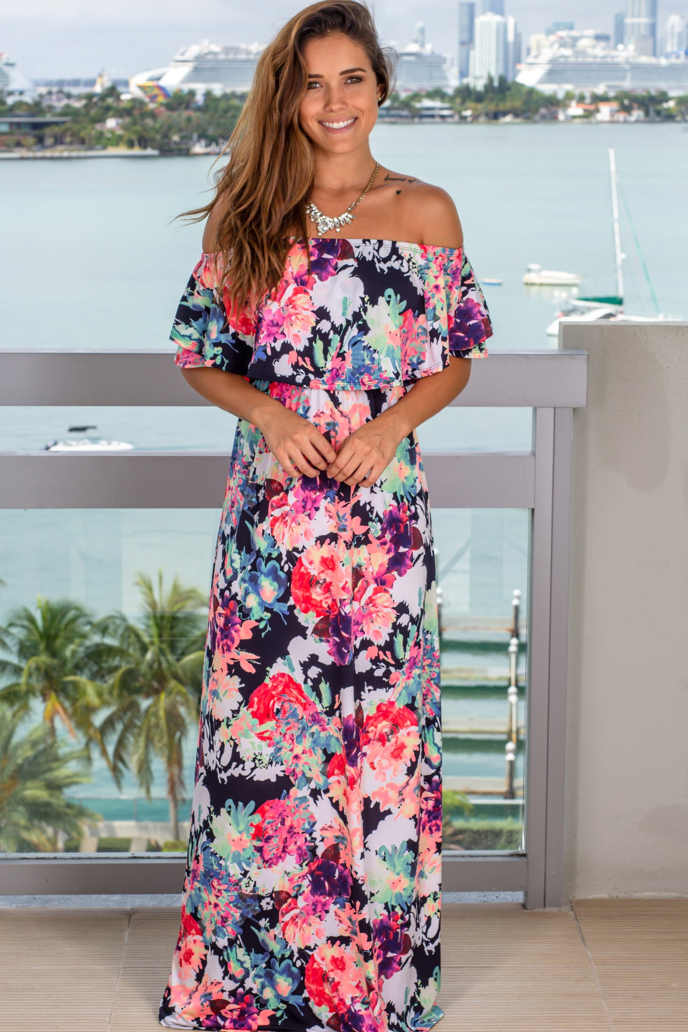 neon floral off shoulder maxi dress