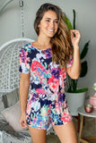 neon floral romper with short sleeves
