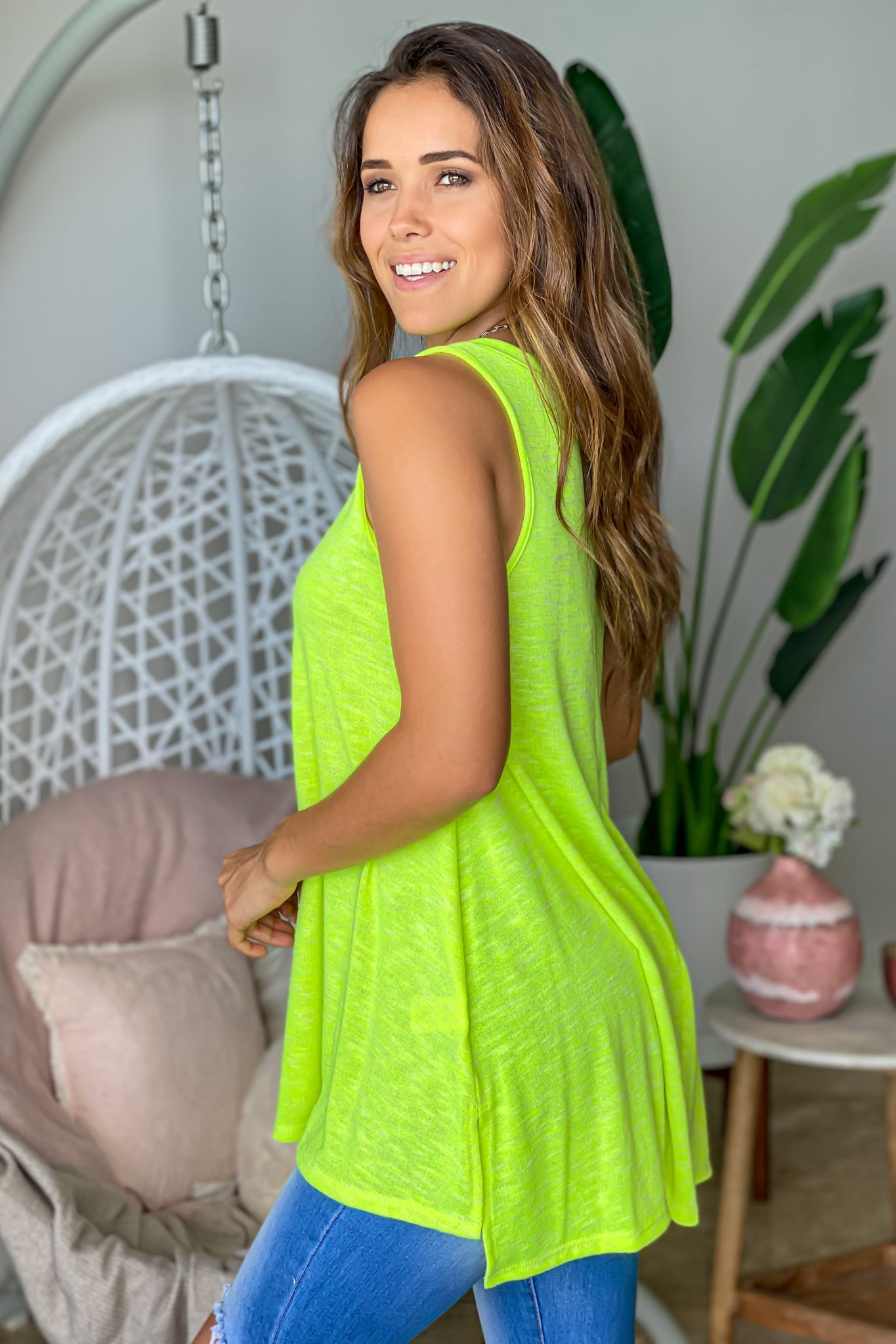 neon lime casual top