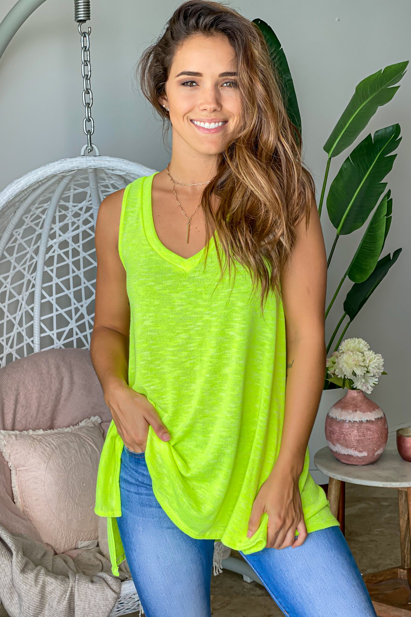 neon lime cute top