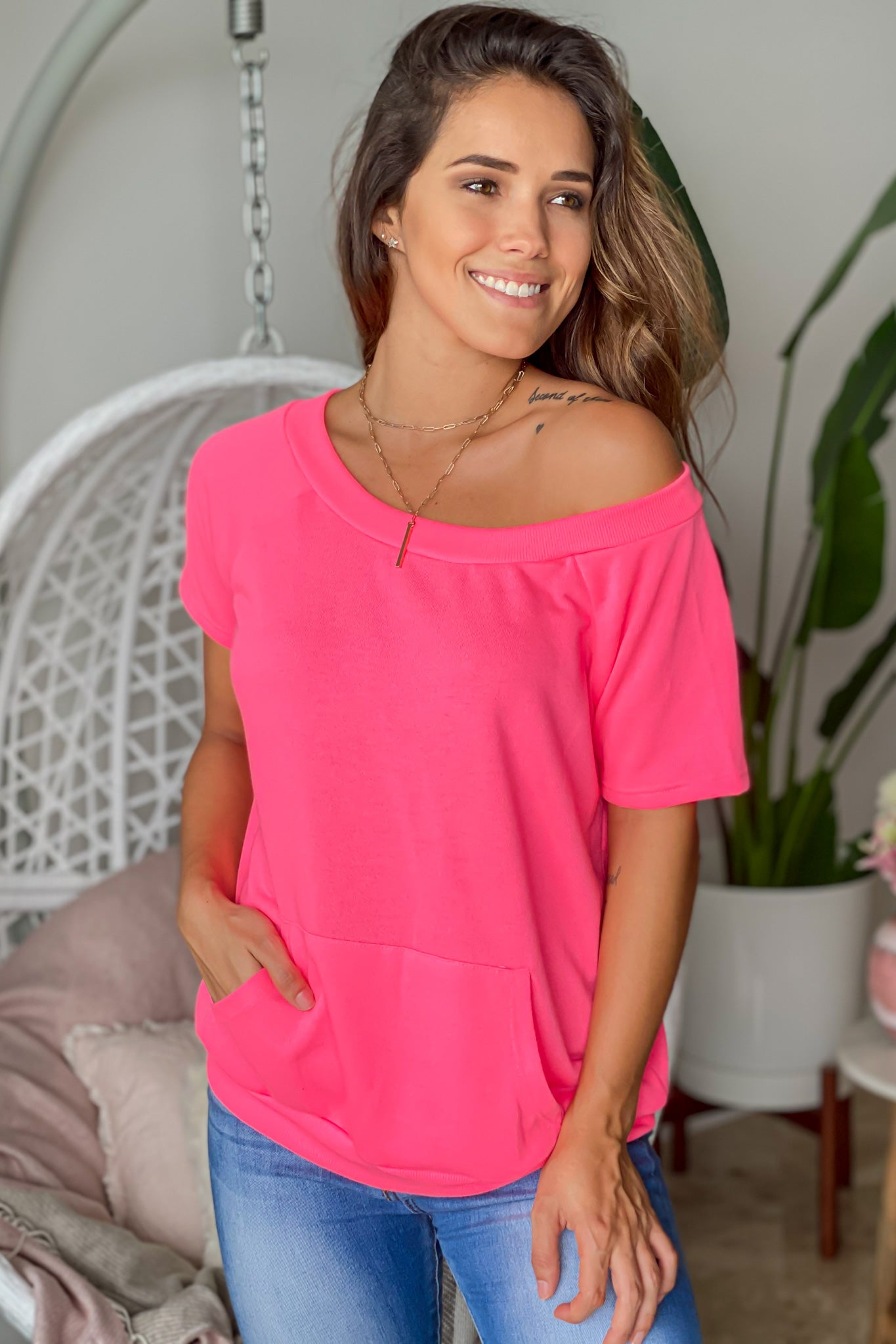 neon pink casual top