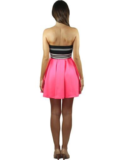 Neon pink cocktail dress - back view
