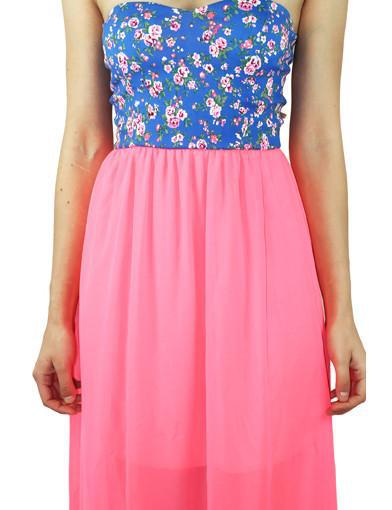 Neon pink dress with floral top - zoomed view