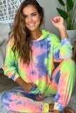 neon yellow tie dye sweatshirt with hoodie