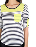Neon yellow top with pocket - zoomed view