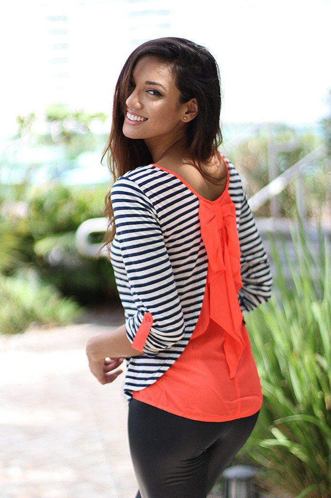 Neon Coral Back Bow Top