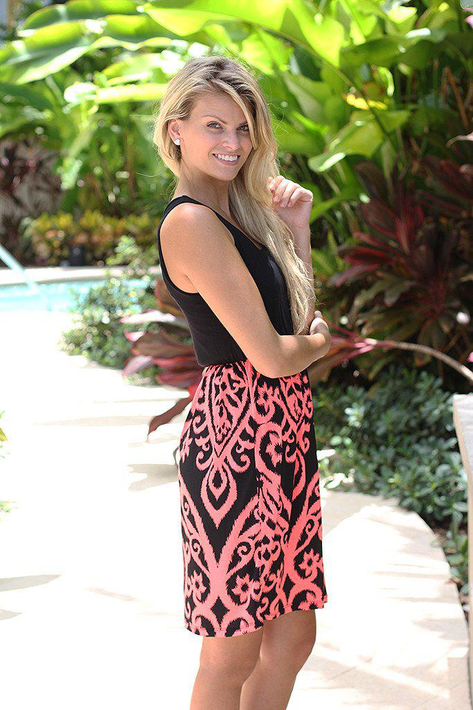 Black and Neon Coral Short Dress