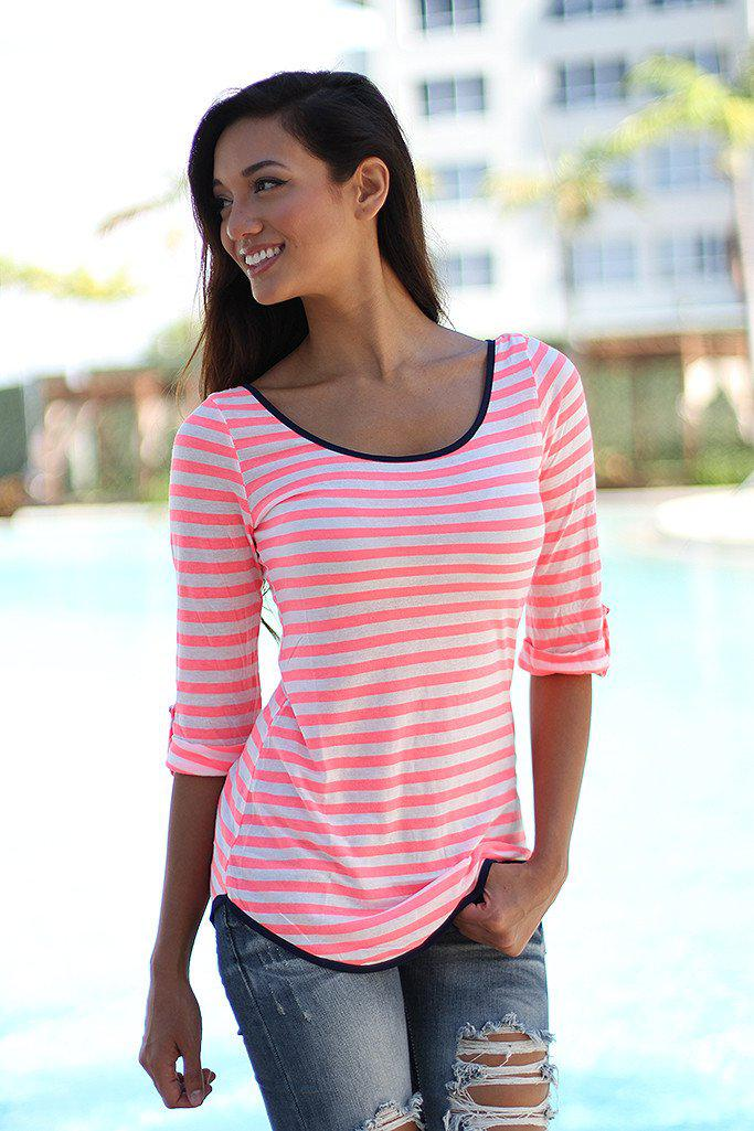 Neon Coral Striped Top With Back Bow