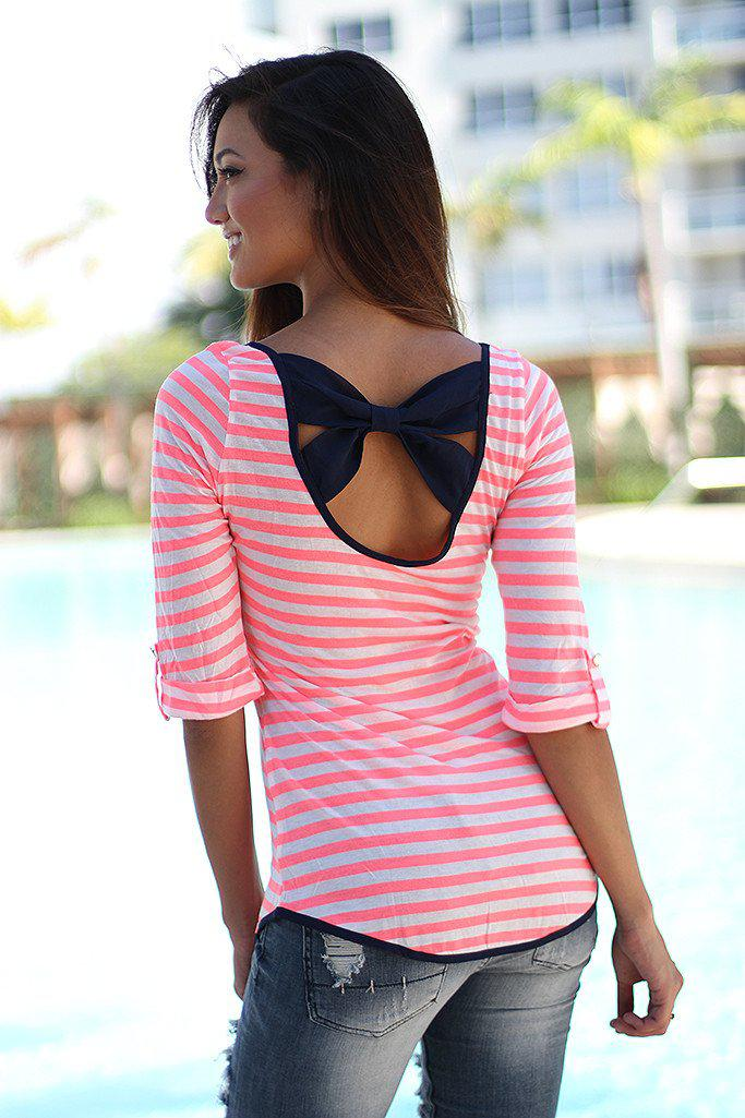 878b8065eb90cf Neon Coral Striped Top With Back Bow | Cute top – Saved by the Dress