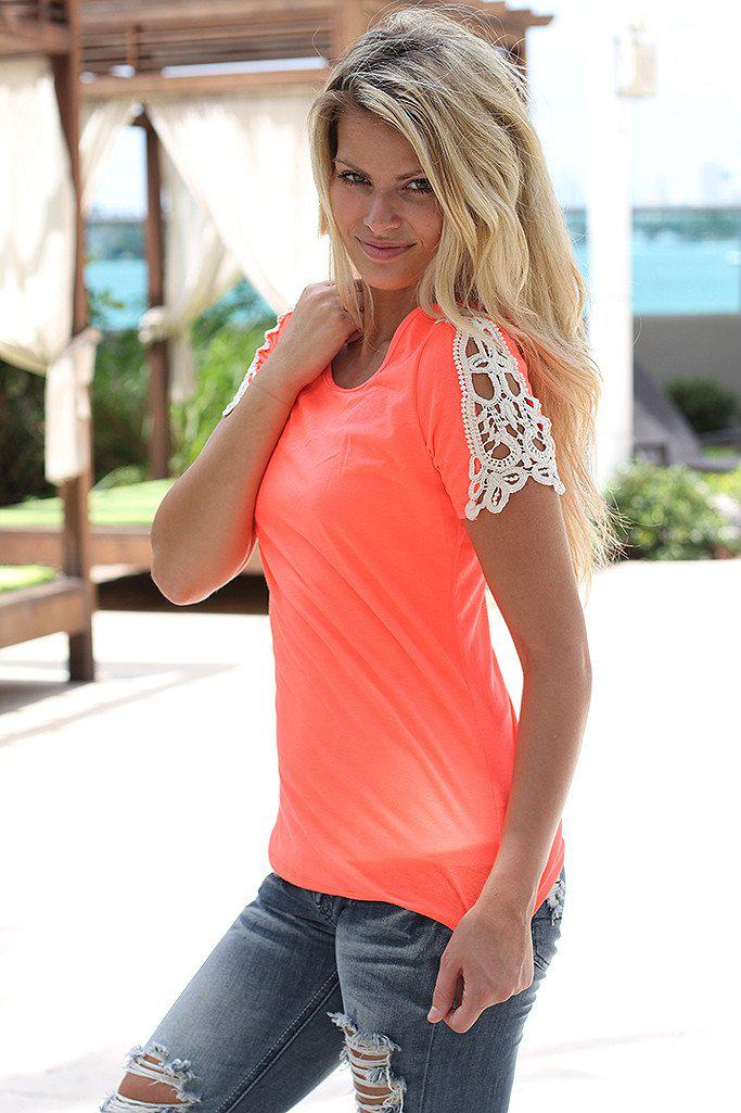 Neon Coral Top With Crochet Sleeves