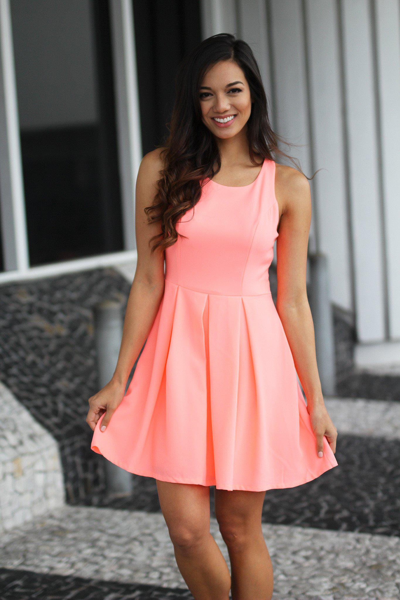 Neon Peach Short Dress with Open Back