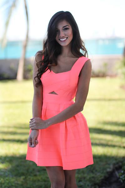 Neon Peach Bandage Dress