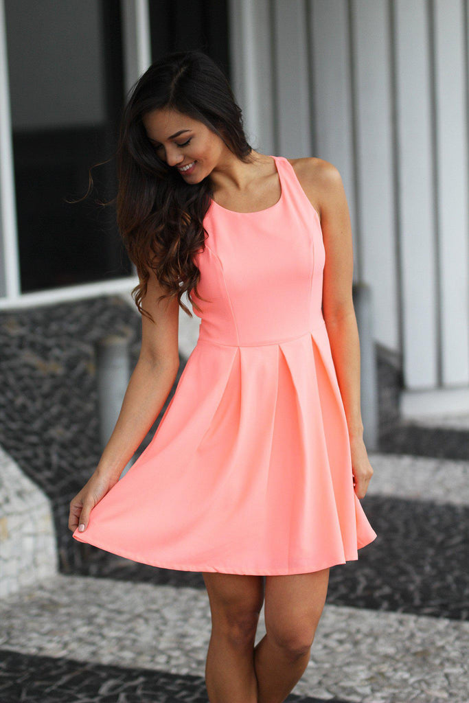 neon peach special occasion dress