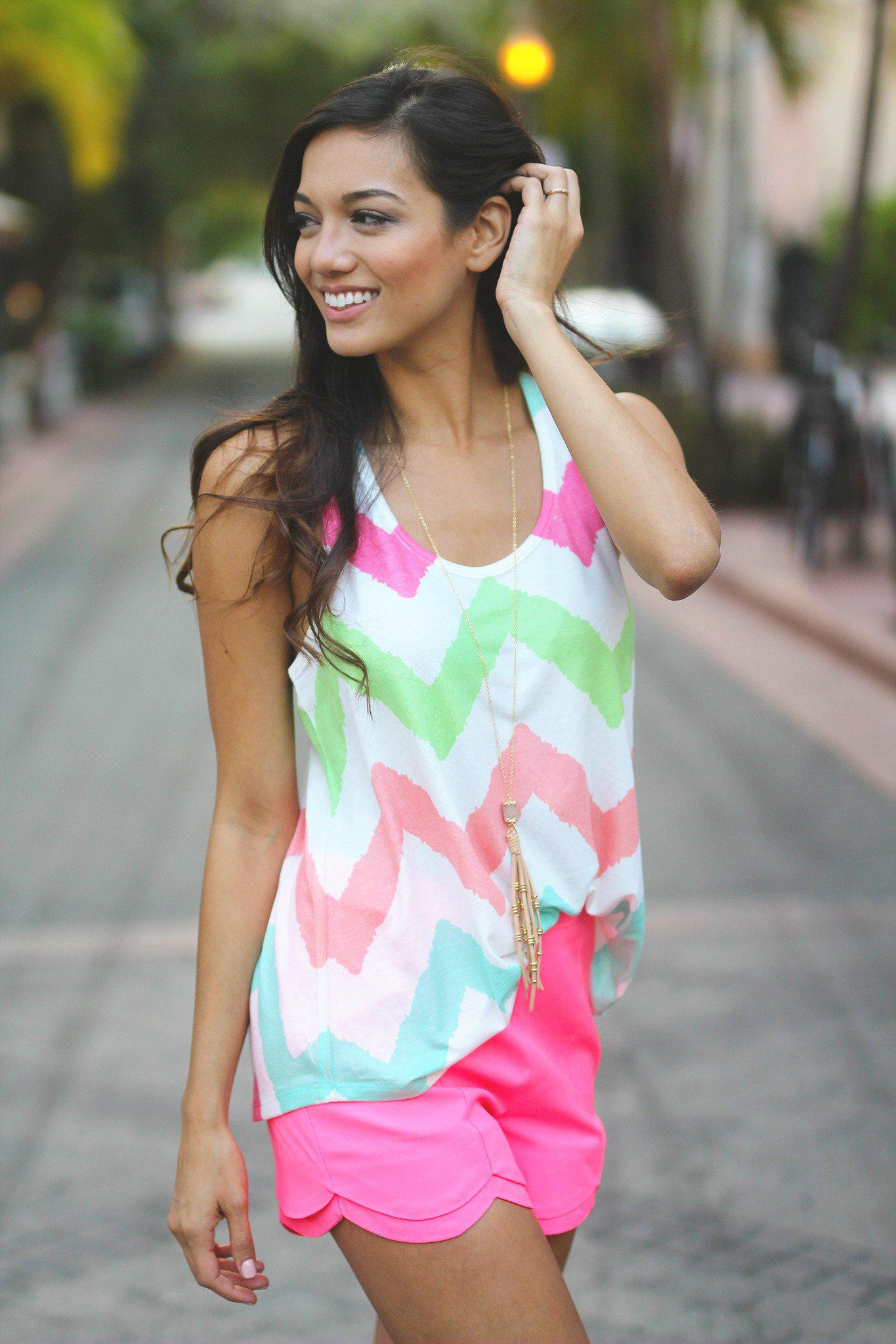 Multi Color Chevron Tank Top