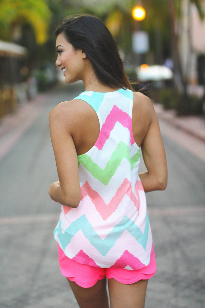 multi color chevron racerback top