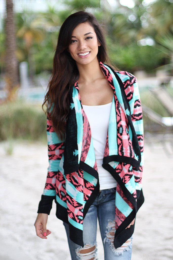 Neon Pink And Black Cardigan