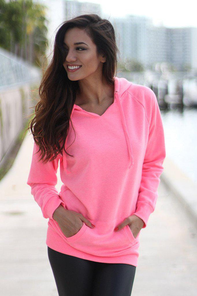neon pink hoodie with pocket