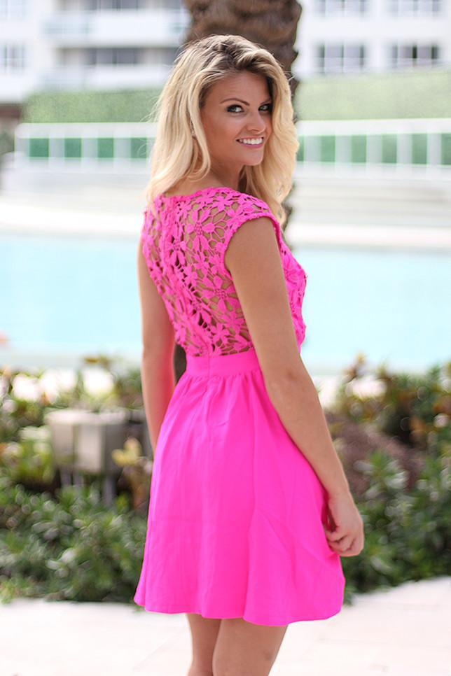 Neon Pink Short Dress With Crochet Back
