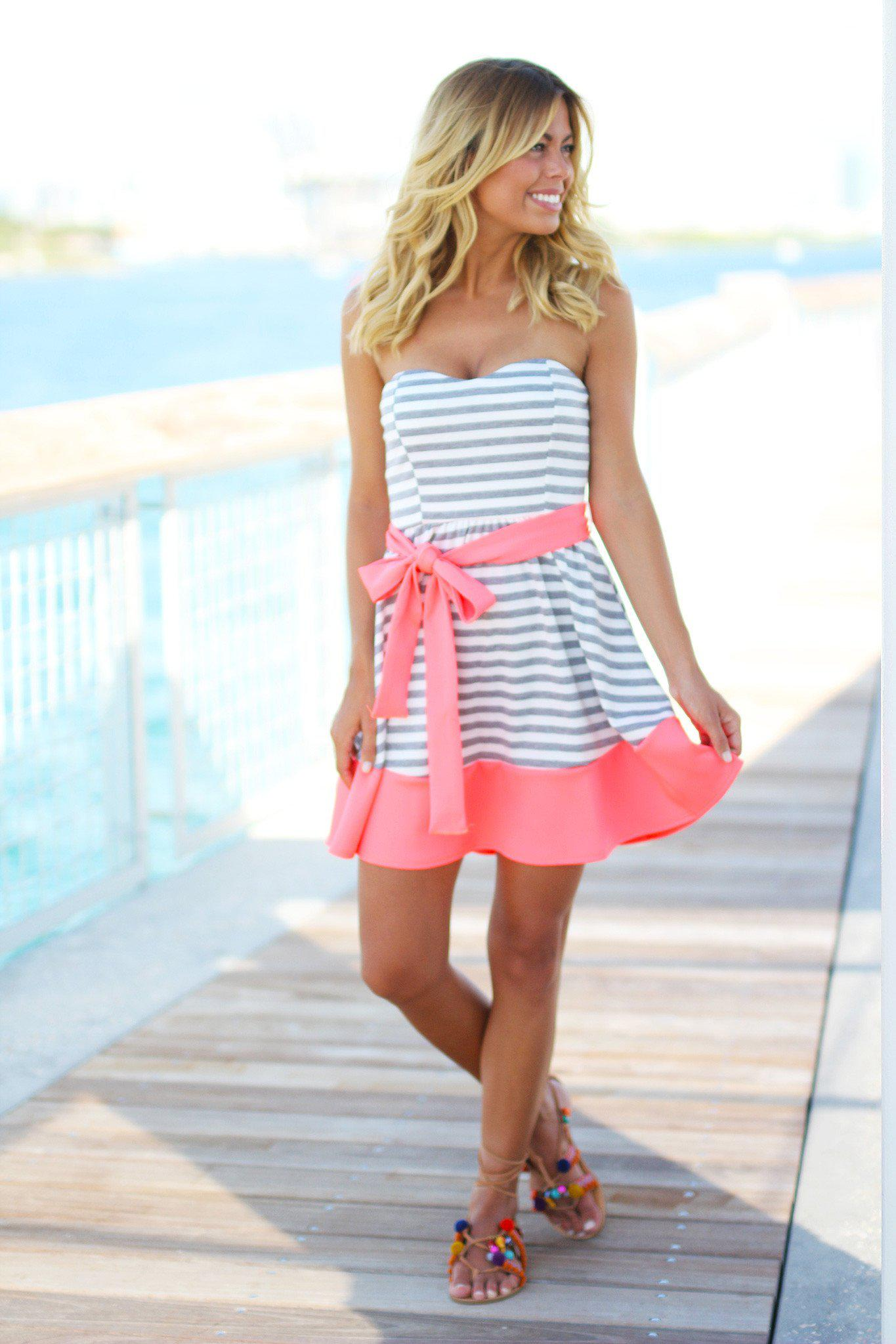 Gray and Neon Pink Striped Dress