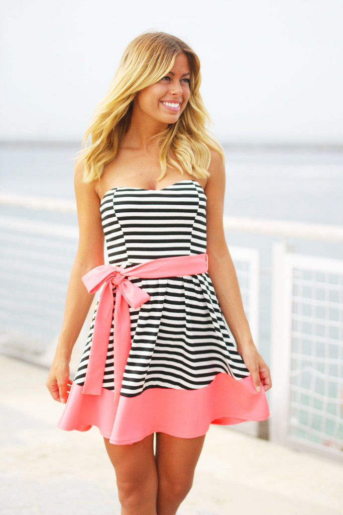 black and neon pink striped dress