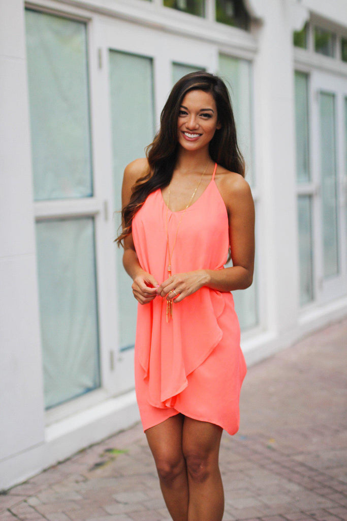 neon coral layered short dress