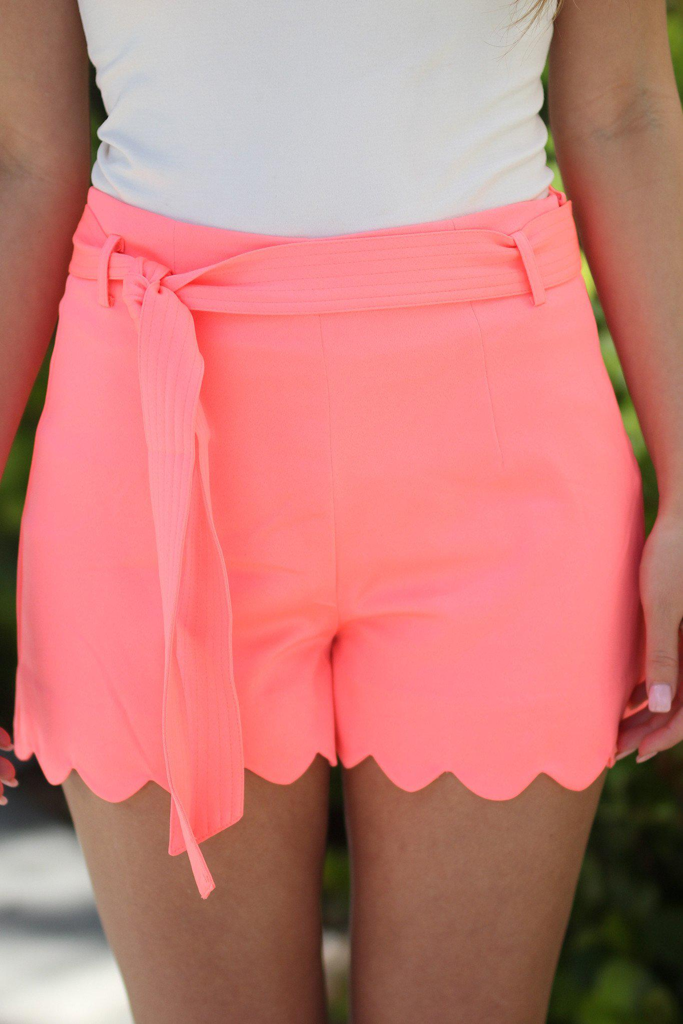 Neon Coral Scalloped Shorts