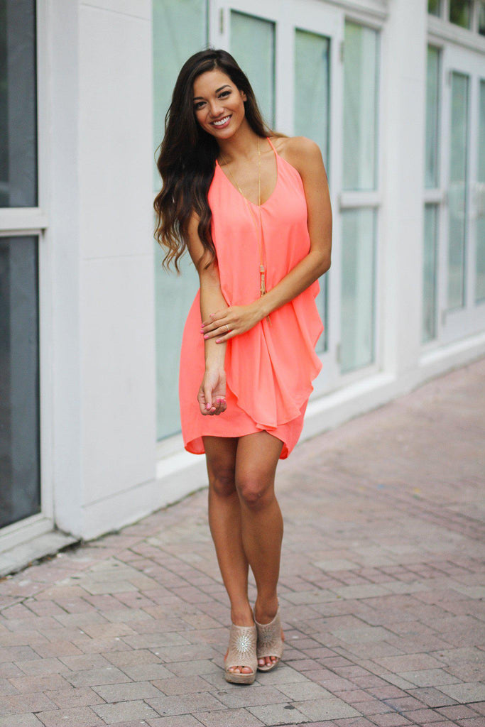 neon coral special occasion short dress