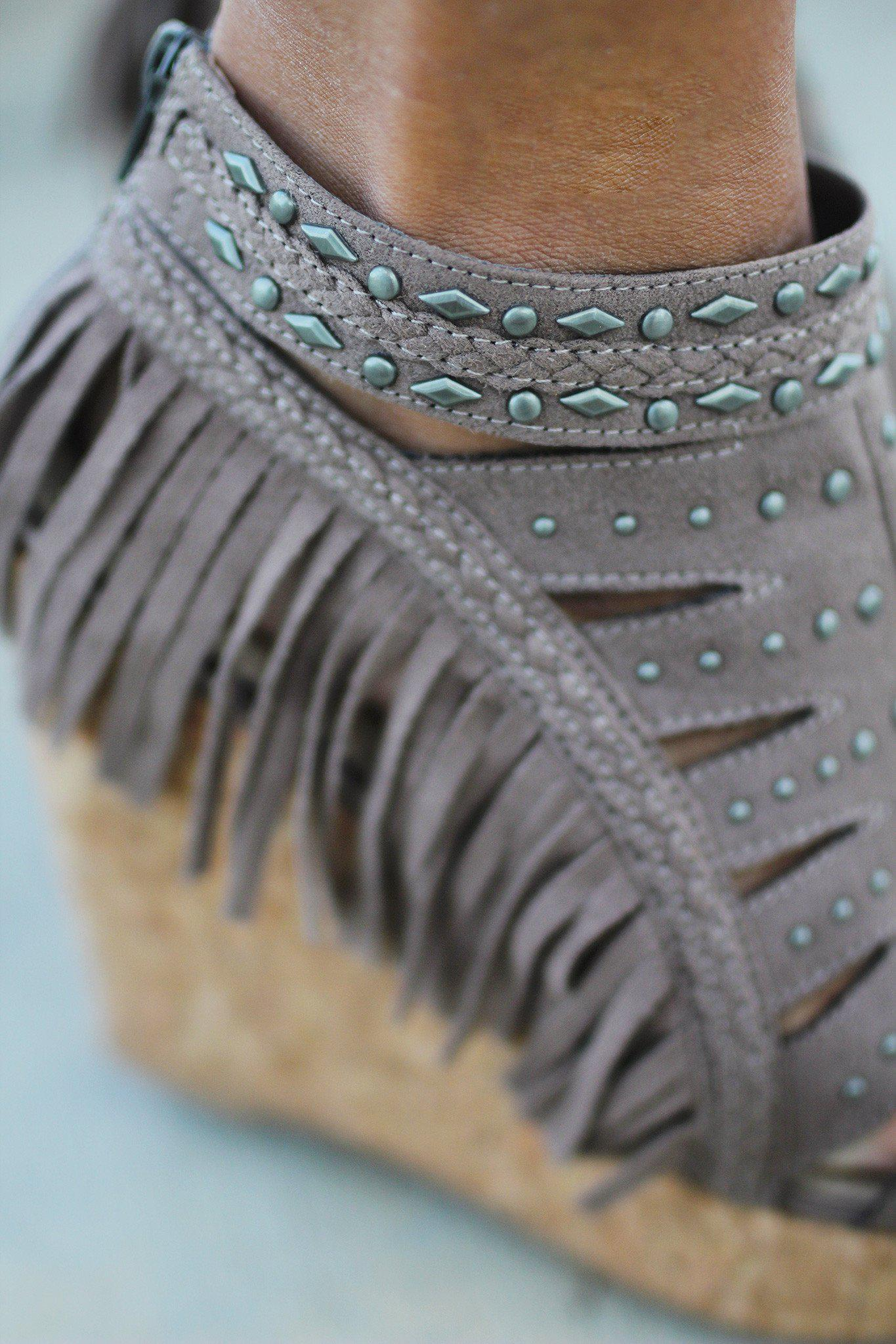 Frolic In Fringe Taupe Wedges