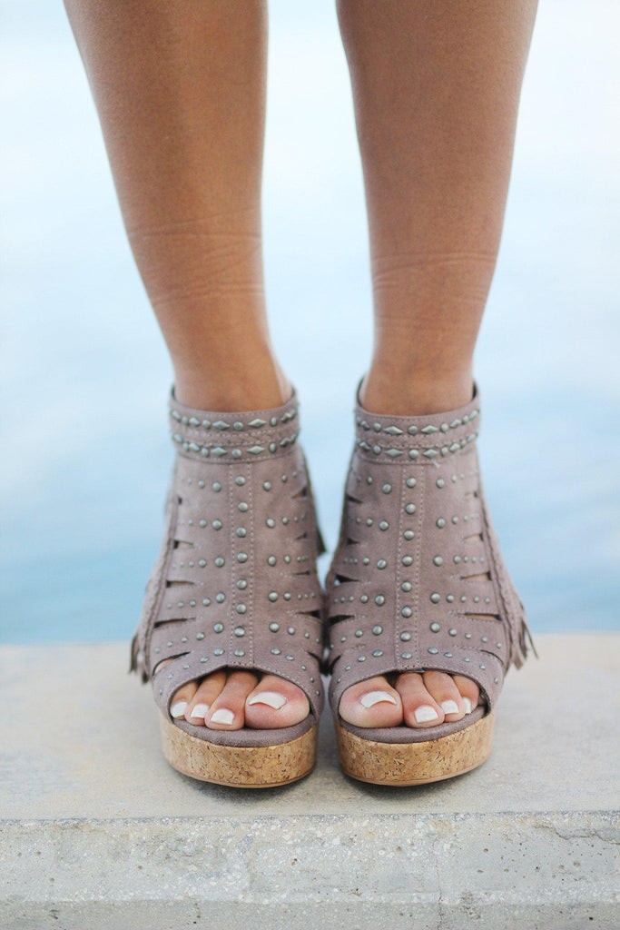 taupe open toe wedges